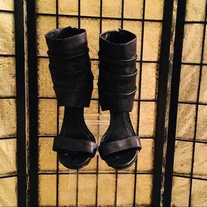 BCBG  black leather cuff stilettos